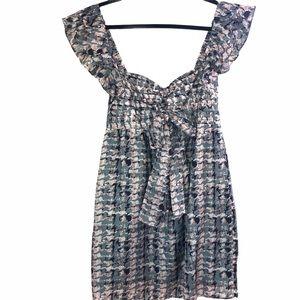 Silk Mini Dress With Ruffle Sleeves